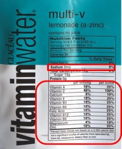Vitamins and minerals on labels